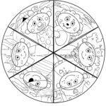 Lustiges Karneval Fasching Mandala zum Ausmalen