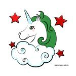Colored unicorn green