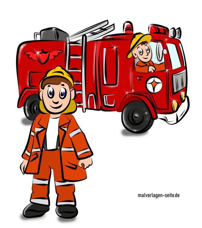 Fertig ausgemalte Feuerwehr