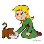 ילדה צבועה מוכנה עם חתול