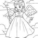 Página para colorir anjo voa - Página para colorir para colorir