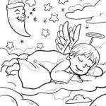 საღებარი სურათი მძინარე ანგელოზი ღამით საღებარი