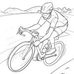 Coloring page racing bike riding a bicycle