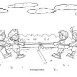Coloring page tug of war for coloring