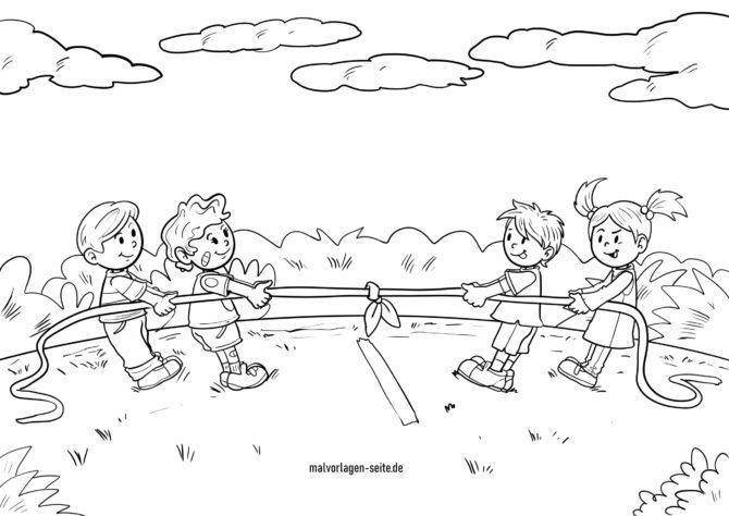 Coloring page tug of war