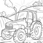 Coloring page driving a tractor