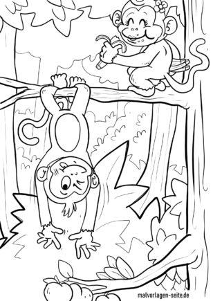 বাচ্চাদের রঙ করার জন্য ছবি ছোট ছোট বানরগুলিকে রঙ করুন