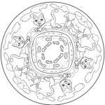 Cat Mandala - Mandalas for children to color