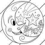 Malvorlage Mond zum Ausmalen für Kinder