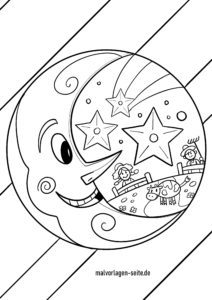 Coloring page moon for children to color