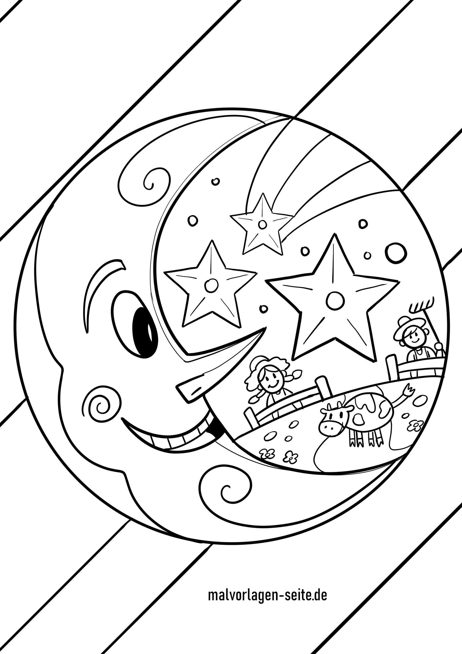 Malvorlage Mond - Kostenlose Ausmalbilder