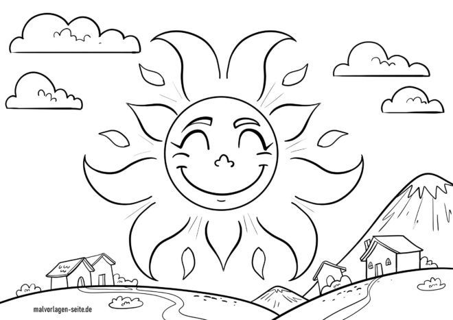 Coloring page sun