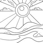 Sun coloring page - Free sunshine coloring page