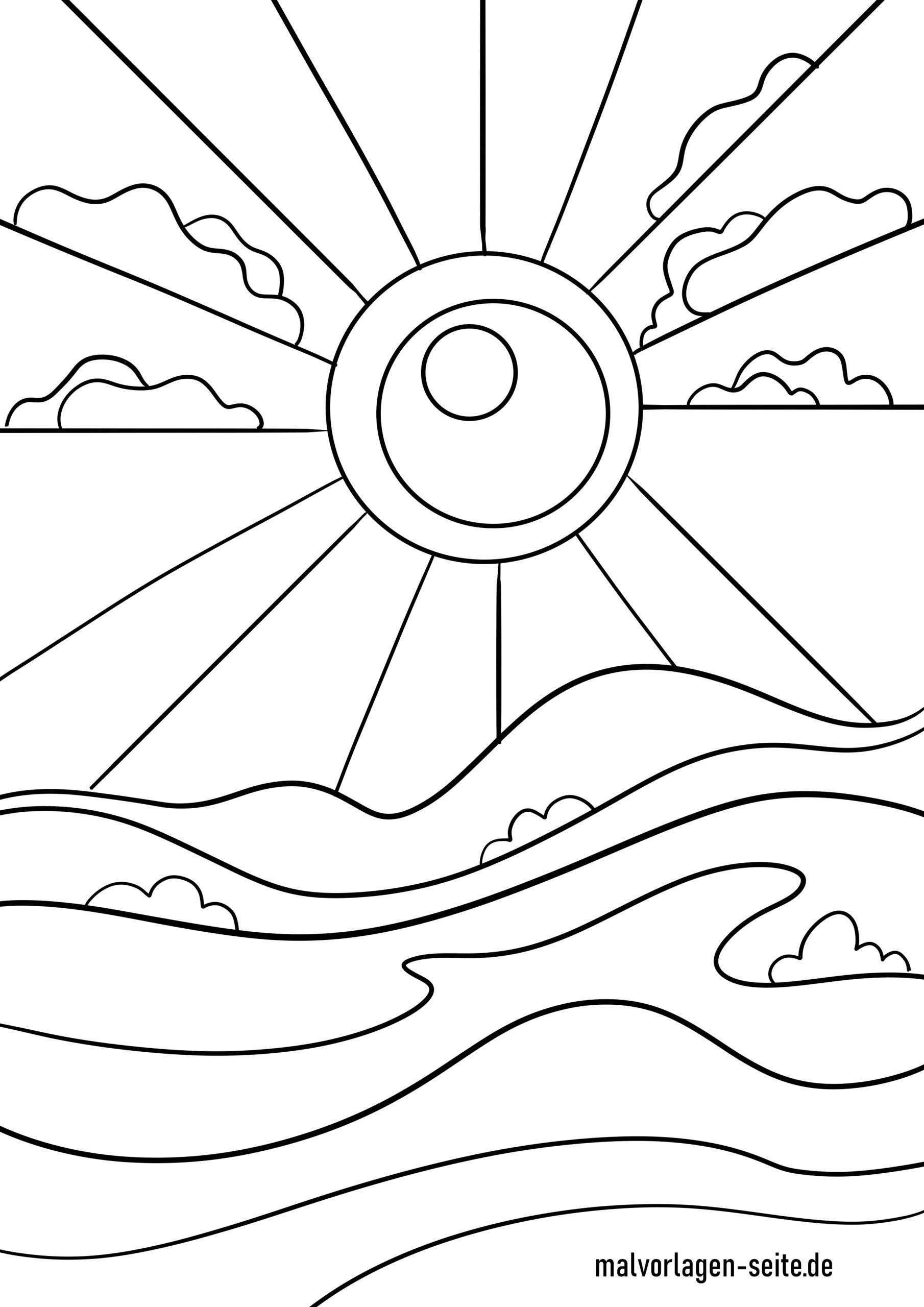 Malvorlage Sonne | Ausmalbilder Kostenlos