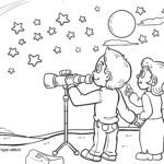 Coloring page star watching - star