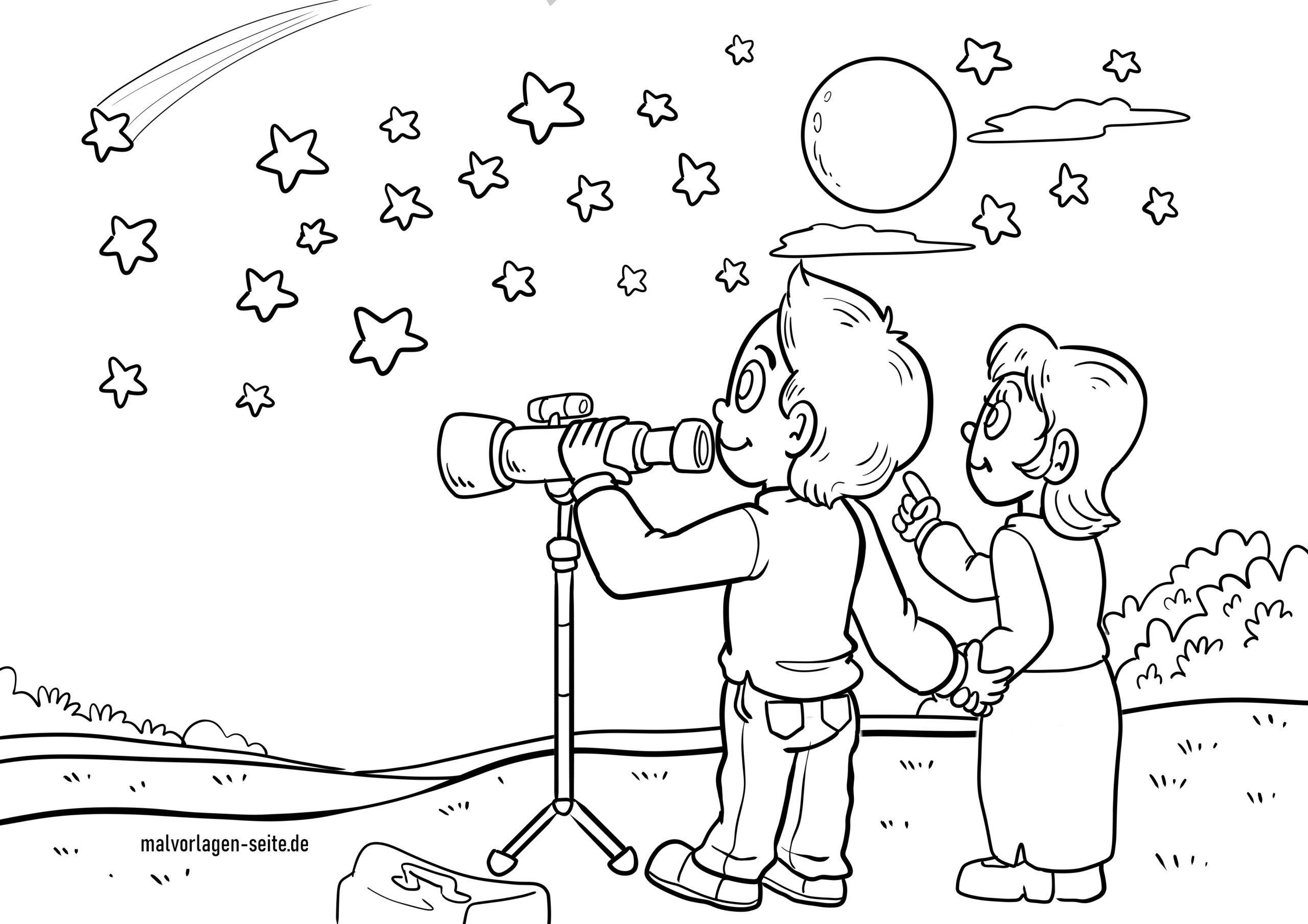 Malvorlage Sterne beobachten - Stern - Kostenlose Ausmalbilder