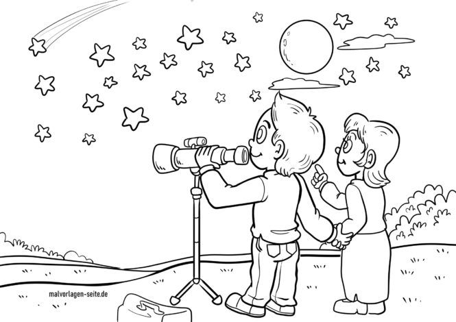 Coloriage regarder les étoiles