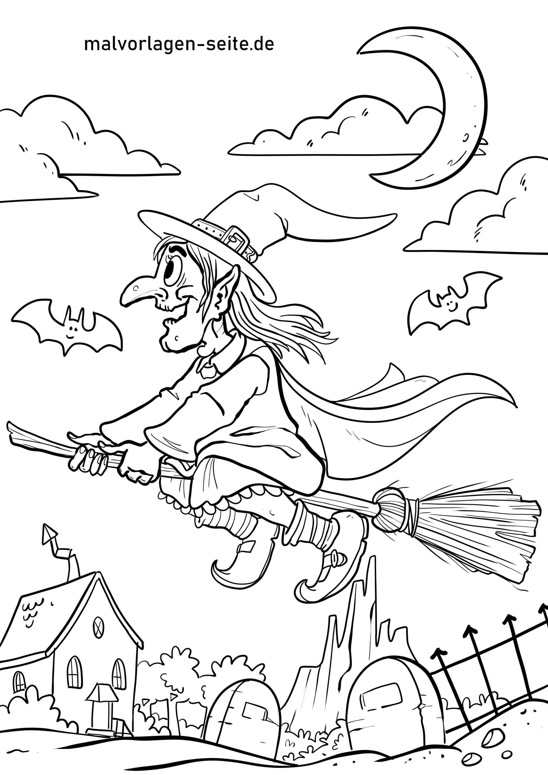 Malvorlage Walpurgisnacht Hexe - Kostenlose Ausmalbilder
