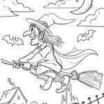 Coloring page Walpurgis night witch
