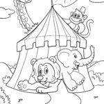 Ausmalbild Zirkustiere zum Ausmalen | Zirkus Tiere Malvorlagen