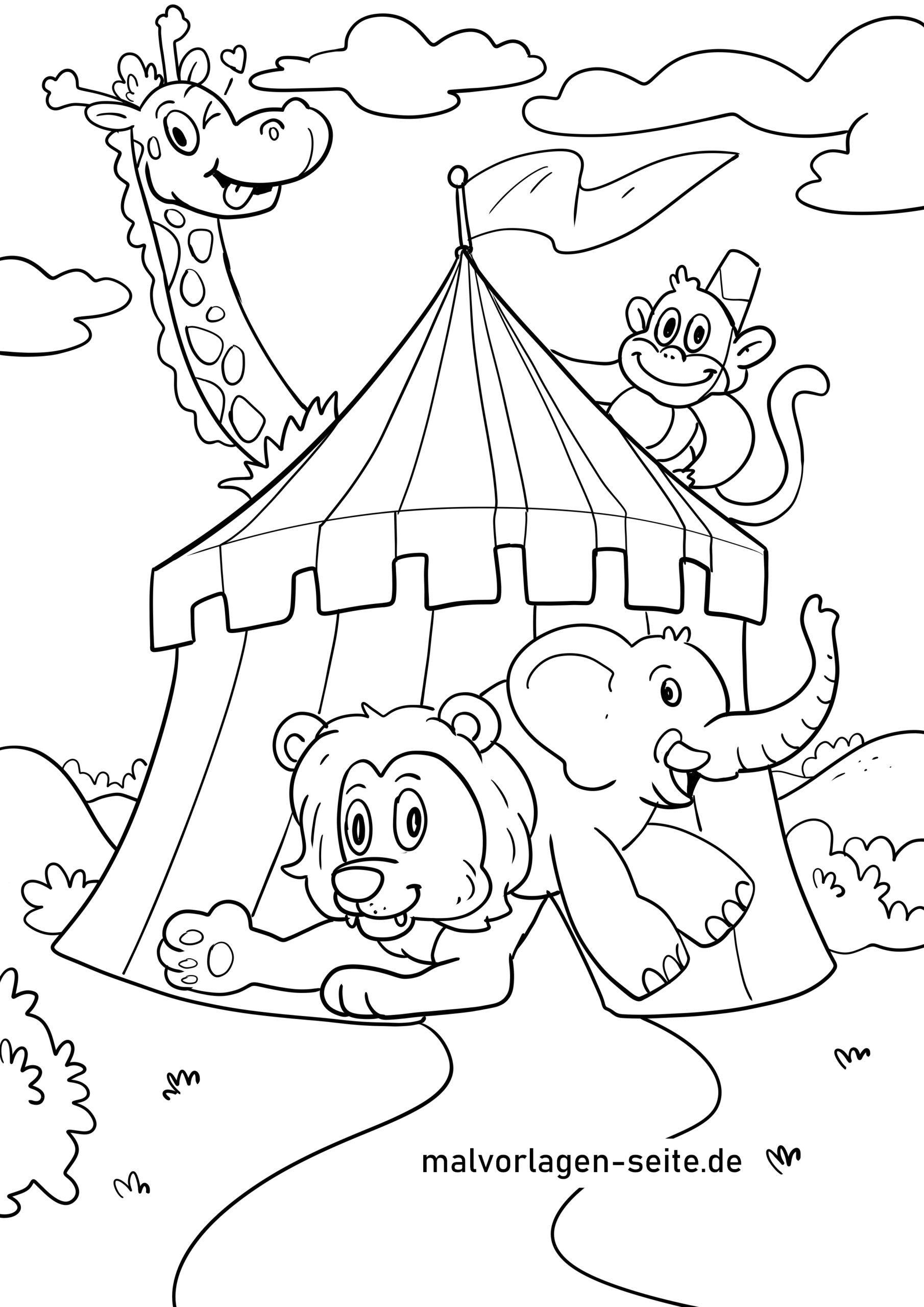 Malvorlage Zirkus - Kostenlose Ausmalbilder