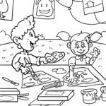 Coloring page crafting and painting with children - Coloring page