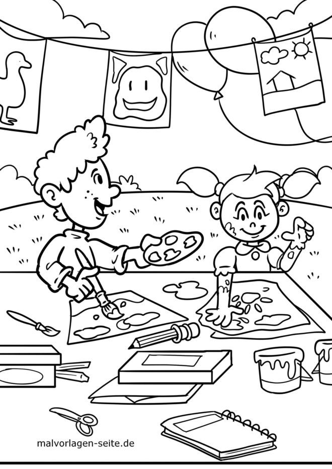 Coloring page handicrafts and painting with children