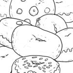 Ausmalbild Donuts zum Ausmalen - Kostenlose Malvorlage