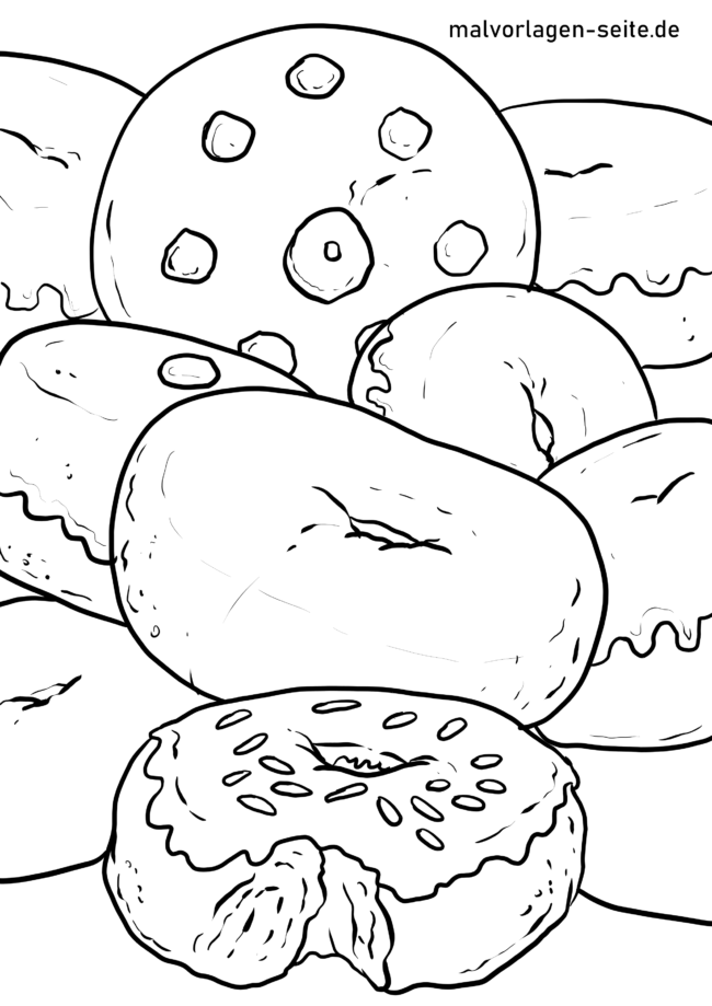 Coloring page donuts