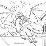 Coloring page fire-breathing dragon for coloring
