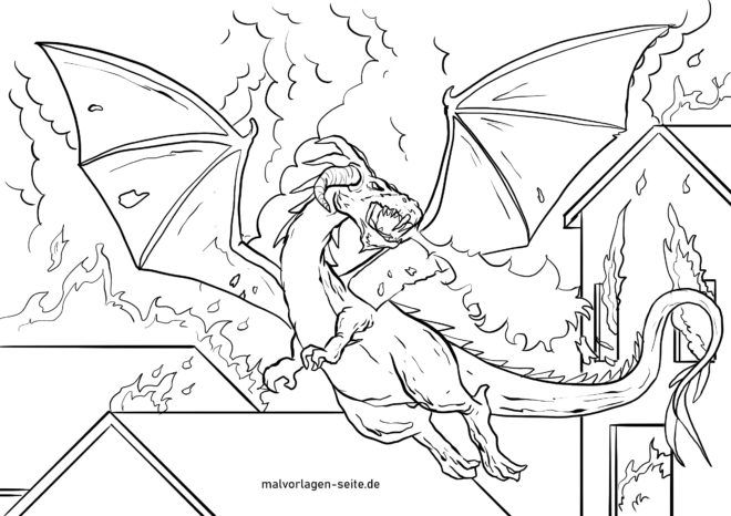 Coloring page fire-breathing dragons