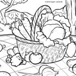 Ausmalbild Gemüse Korb zum Ausmalen