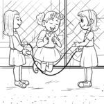 Coloring page rubber twist jumping rope children