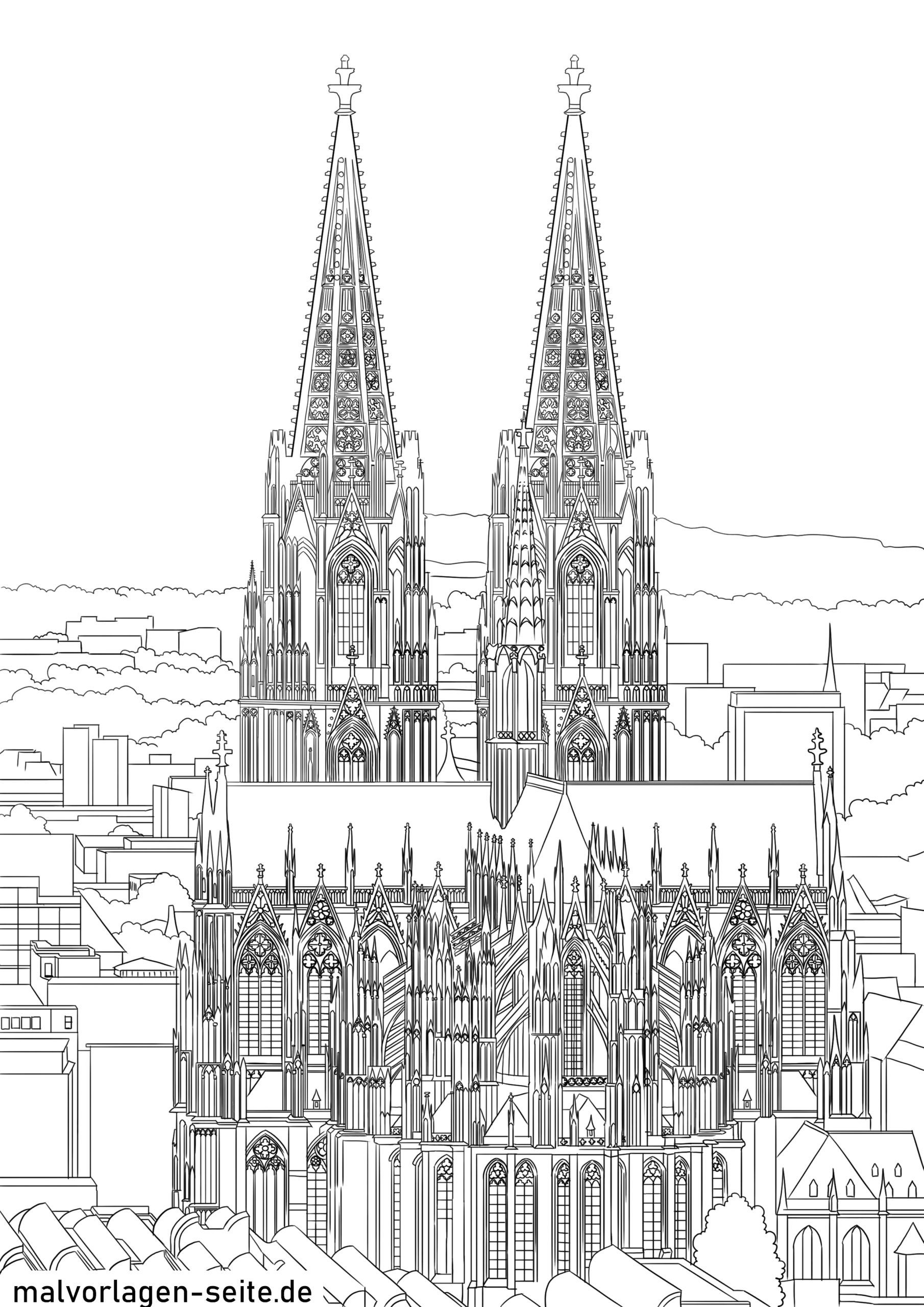Kleurplaat Katedraal fan Keulen