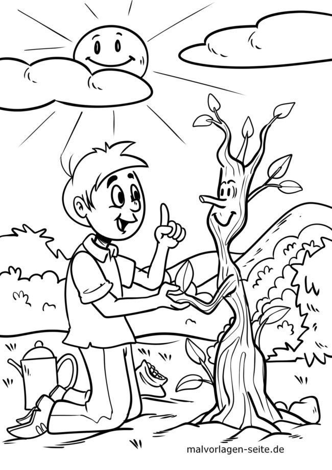 Coloring page protecting the environment