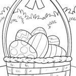 Imaxe para colorear ovos de Pascua nunha cesta nun prado - Páxina para colorear Pascua
