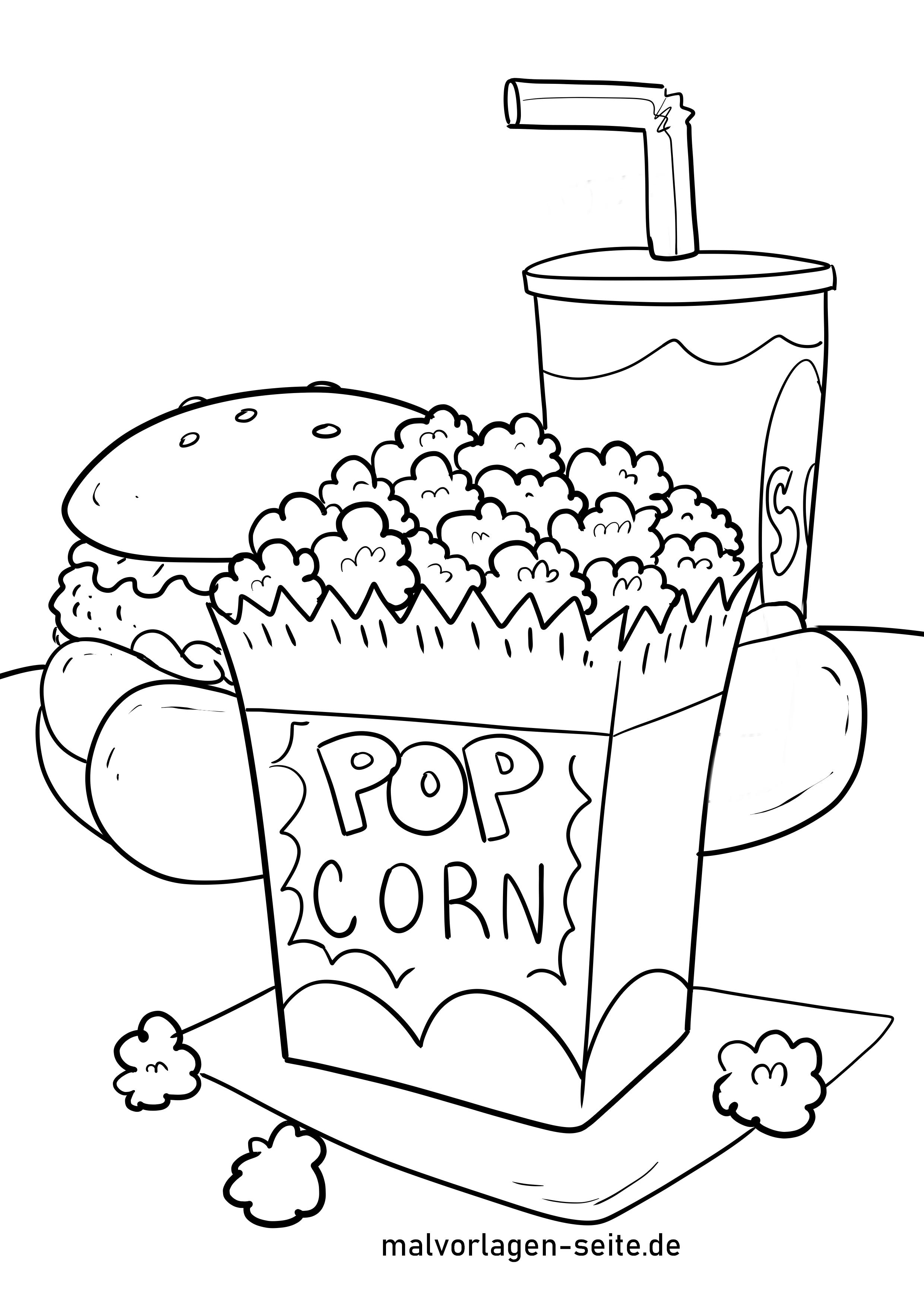 Malvorlage Popcorn - Essen - Kostenlose Ausmalbilder