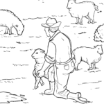 Coloring page shepherd with sheep