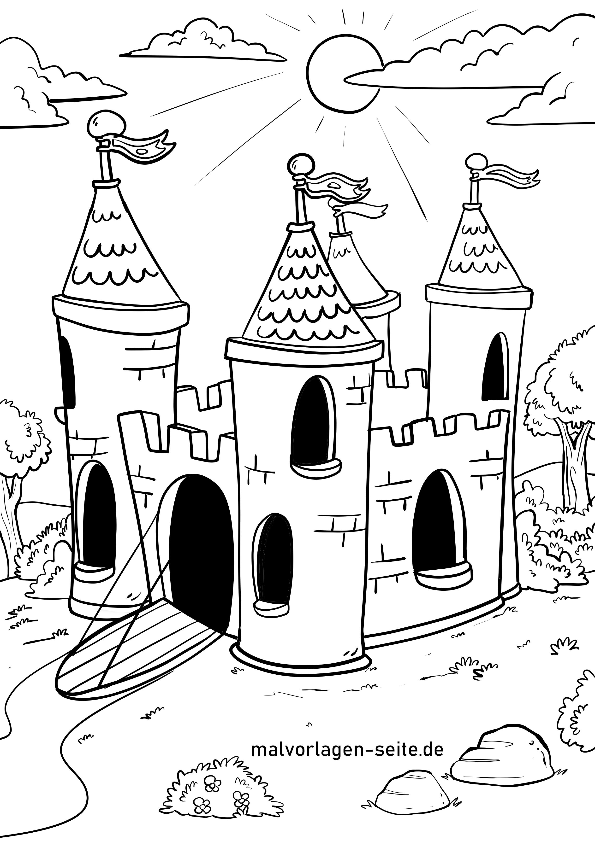 Malvorlage Burg - Kostenlose Ausmalbilder