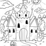 Castelo de colorir para crianças