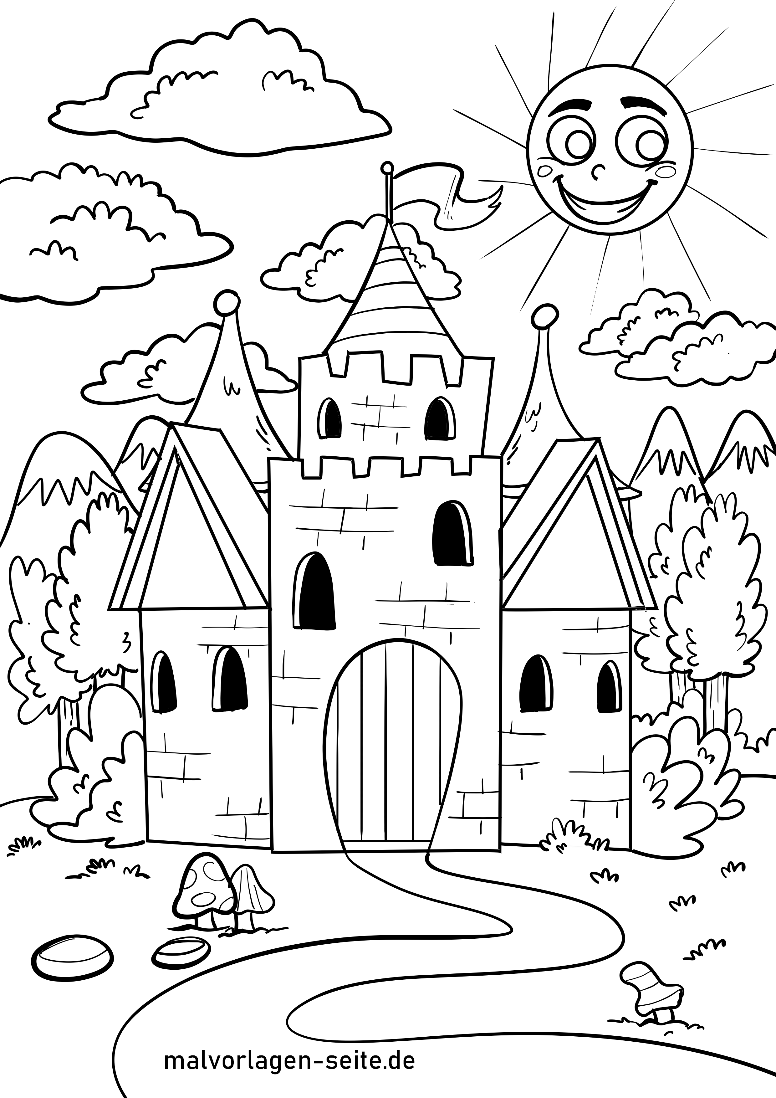 Ausmalbild Burg - Kostenlose Ausmalbilder