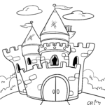 Värityssivun linna - väritys sivu lapsille väritystä varten