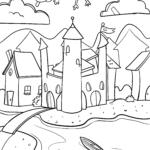 Castelo de imagens para colorir para colorir para crianças