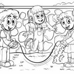 Coloring page jumping rope for children to color
