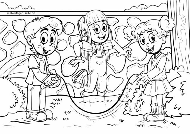 Coloring page jumping rope