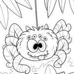 Ausmalbild Spinne zum Ausmalen für Kinder