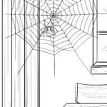Ausmalbild Spinne baut Spinnennetz - zum Ausmalen