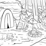 Coloring picture bread on a campfire for coloring