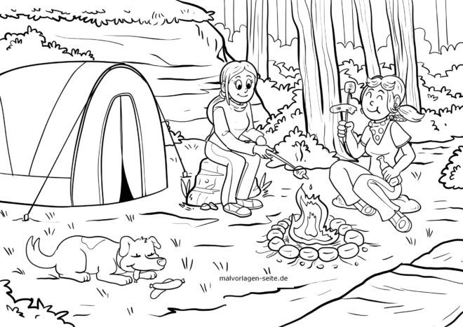 Coloring page stick bread at the campfire