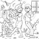Coloring page dancing - coloring page